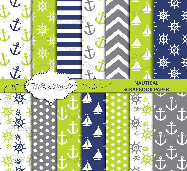 Nautical Scrapbook Lime Grey Navy Paper Digital Sheets Set