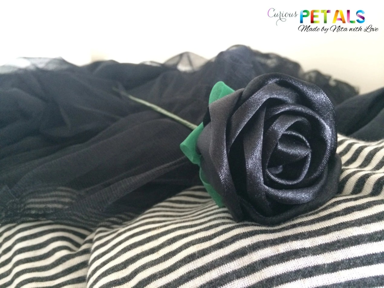 Sexy Black Ribbon Rose, H...
