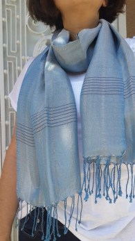 Aqua Blue Shawl, Scarf, or  Wrap with thin Maroon Stripes-100% Silk