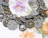 Button Bracelet Victorian Cut Steels, Silver Metal, Pewter And Brass - 2Good2BeThrough