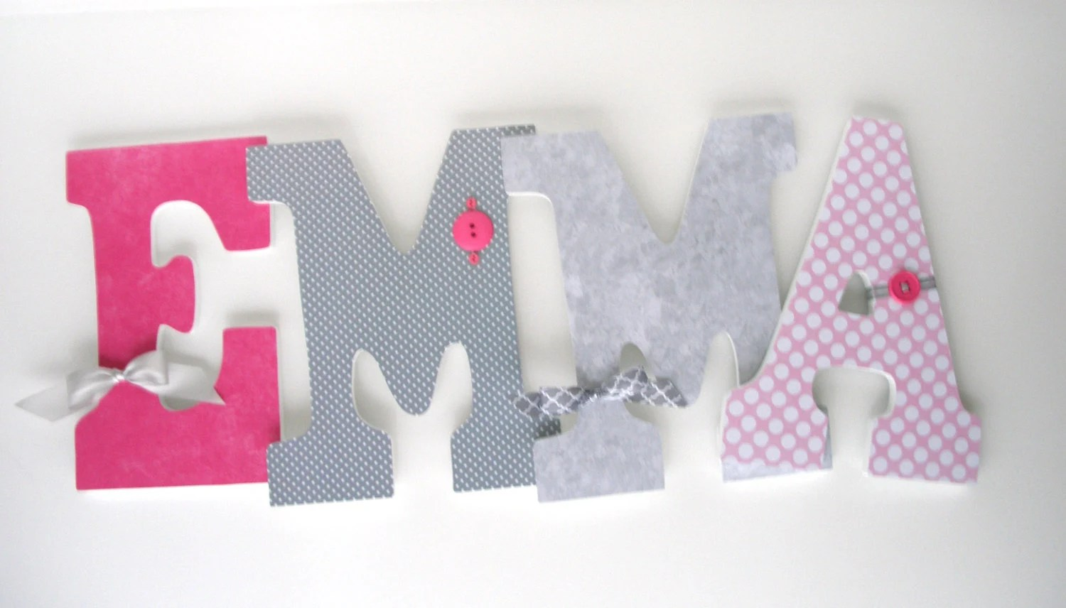 Wooden Nursery Letters Pink And Gray Custom Letter Set For