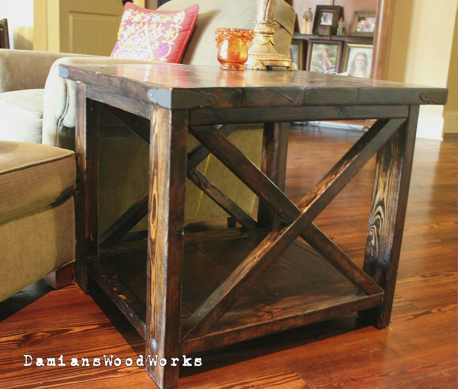Handcrafted Farmhouse End Table Solid Wood