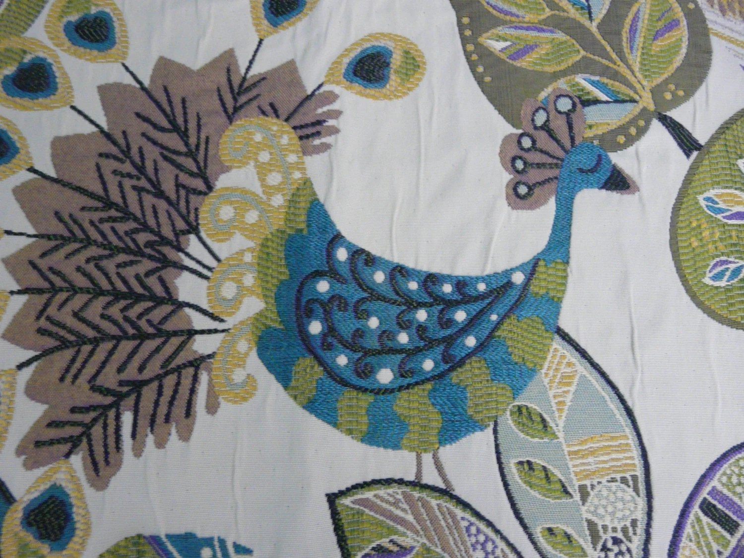 Tapestry Peacock Blue Yellow Valance Olive Green Leaf