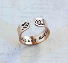fearlessly authentic gold secret message ring,customizable cuff ring, chevron ring arrow ring, gold ring, inspiring quote ring, RTS RG003