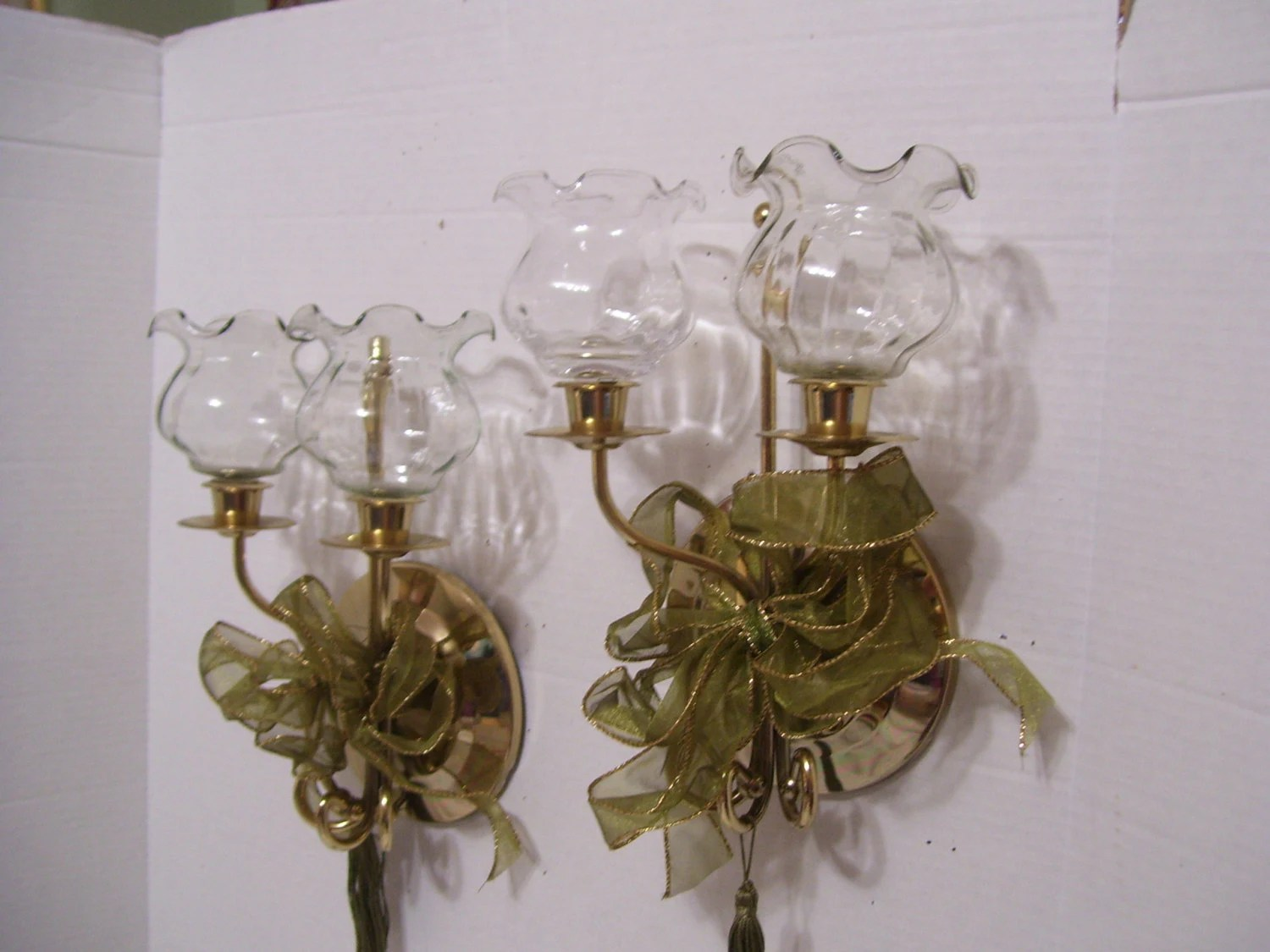 Gold Wall Candle Holders Pair Sconces With Hand Blown Glass on Wall Sconces Candle Holders id=49289