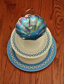 3 Tier Cake Stand Blue Beach Wedding