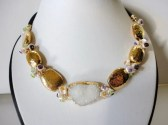 chunky white druzy gold edged beaded necklace.24kg mykonos ceramic beads.multi gemstone.keshi pearls.gold jewelry.beaded jewelry necklaces.