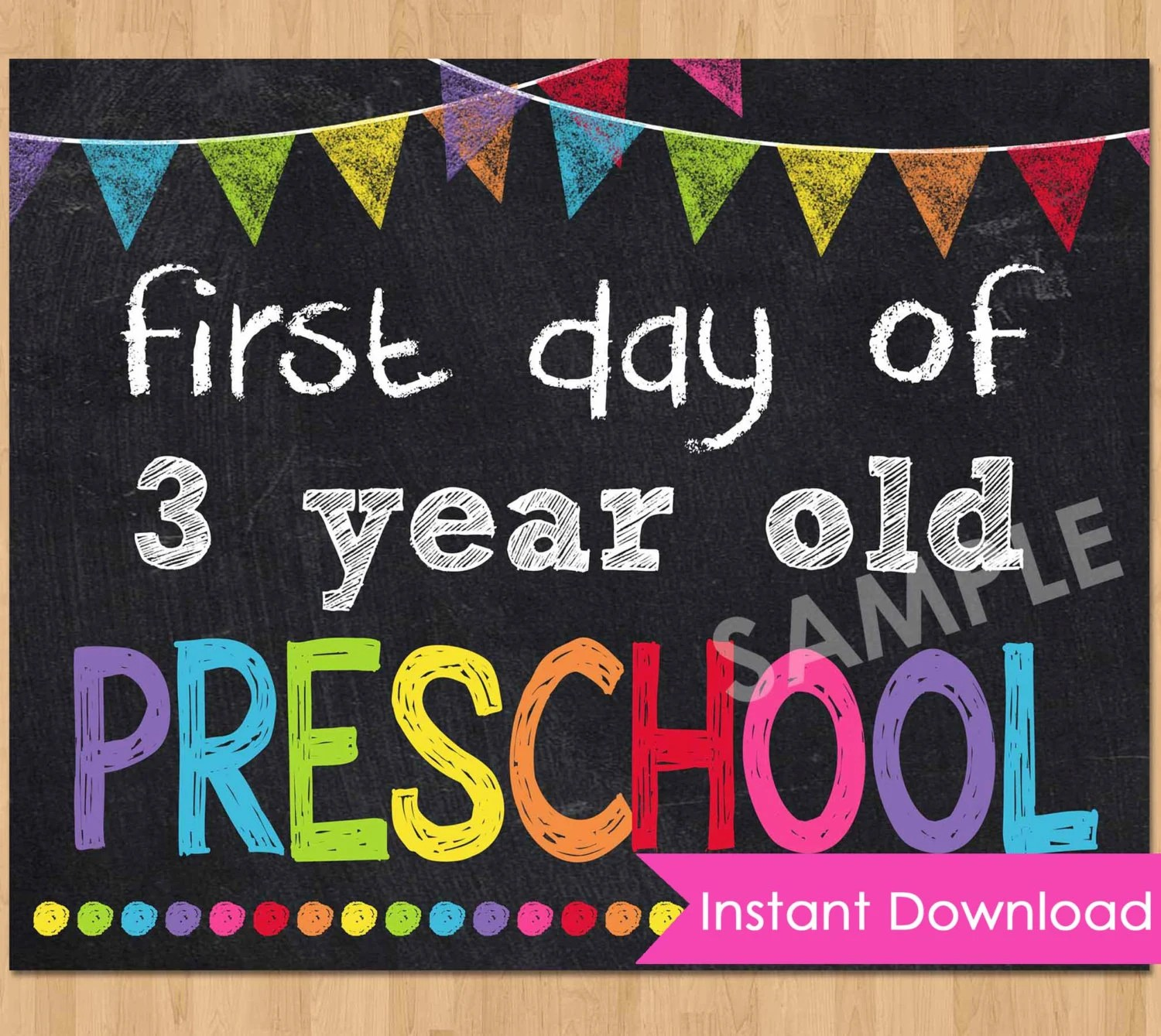 First Day Of Preschool Sign Instant Download First Day Of 3