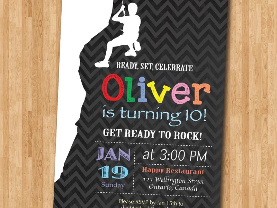 Birthday Invitations Rock Climbing
