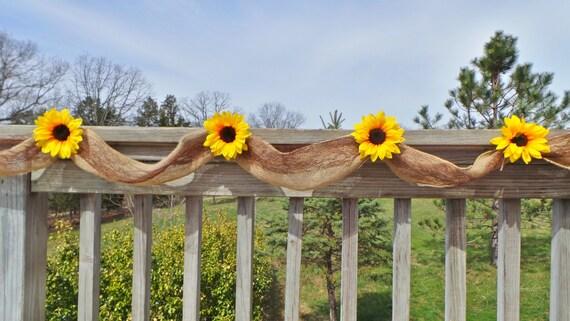 Sunflower Wedding Decor Burlap Garland Bridal Shower Decor