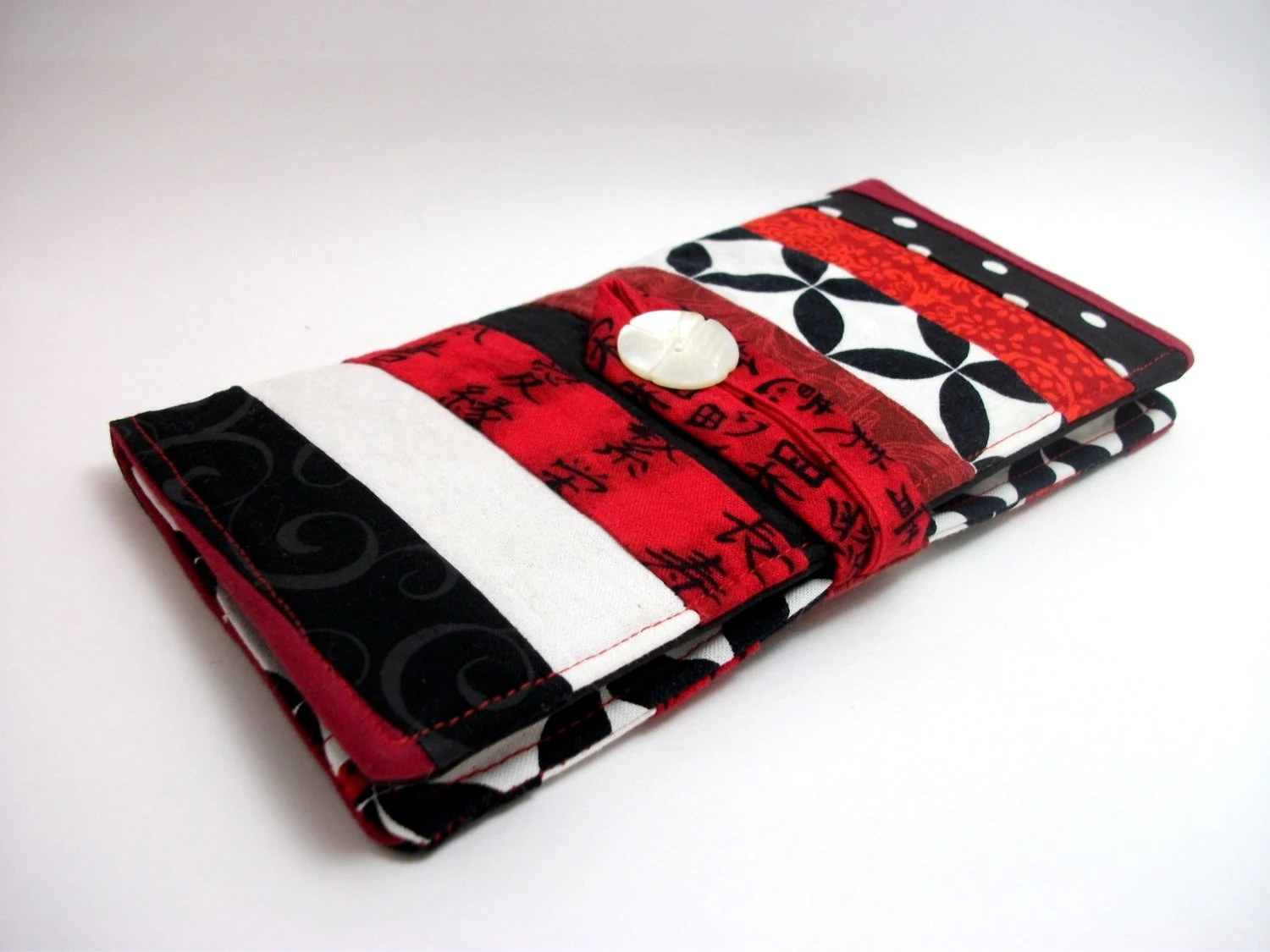 "Patchwork ""Fire"" - Lady's Deluxe Wallet - flame print fabric, black and white with red, OOAK, fabric clutch - ChangelingStudio"