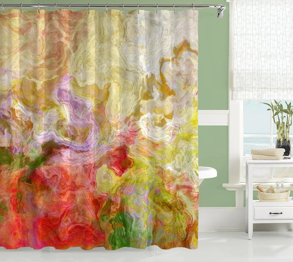 Yellow And Brown Shower Curtain
