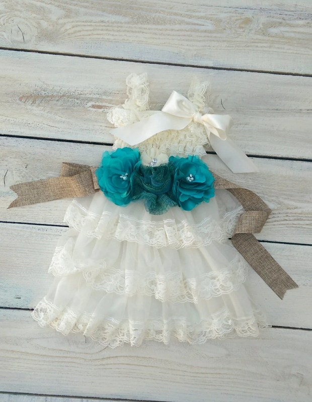 Flower girl dress,ivory flower girl, baptism dress, birthday dress,teal flower girl sash,burlap flower girl sash,rustic flower girl dress