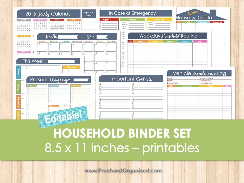 Household Binder Set Editable Organizing Printables Household
