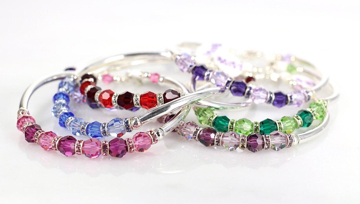 Swarovski crystal & sterling silver fitted bracelets