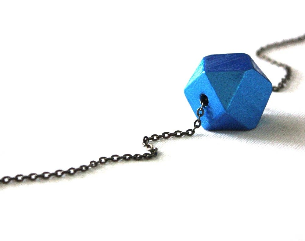 Electric Bright Blue Geometric Jewelry / Metallic Faceted Vibrant Blue Wooden Bead Necklace Modern Minimal Geometric Chunky Bead - WoodenNickelsJewelry