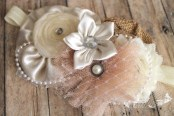 Girl Headband Ivory natural tan couture boutique burlap vintage inspired with pearls and lace  for newborn toddler child girl or adult