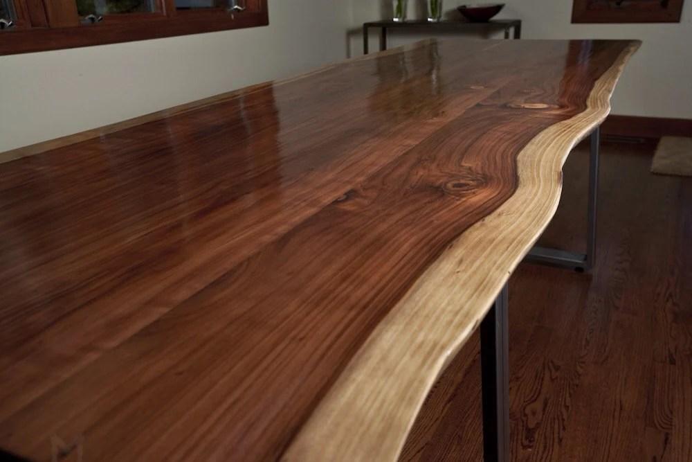 Live Edge Redwood Softwood Dining Table Or Large Desk Steel