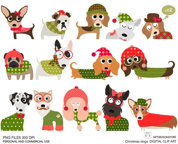 Christmas Dog Digital Clip Art Part 1 For Personal And