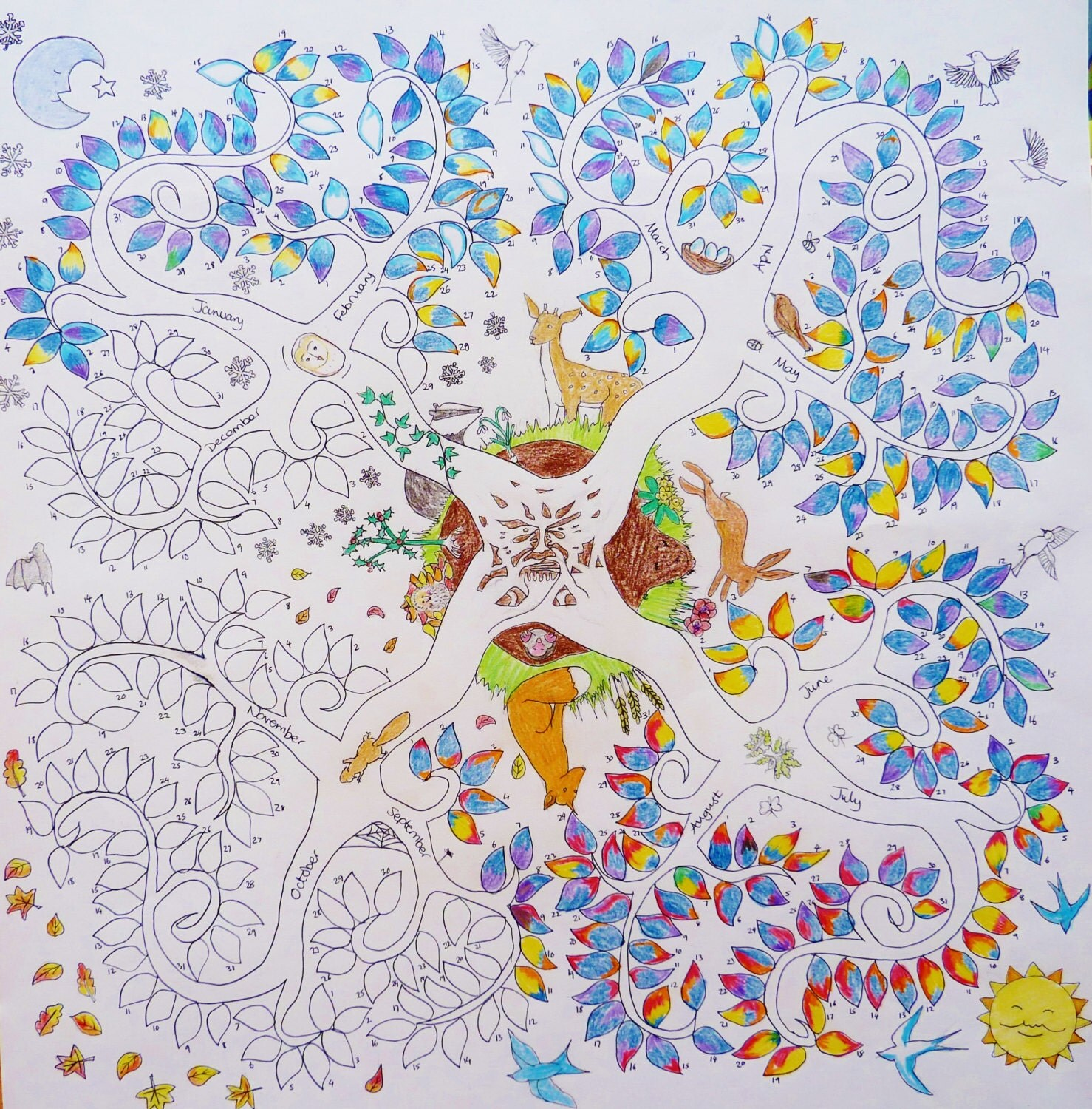 Weather Tree Calendar Poster Colouring Coloring In