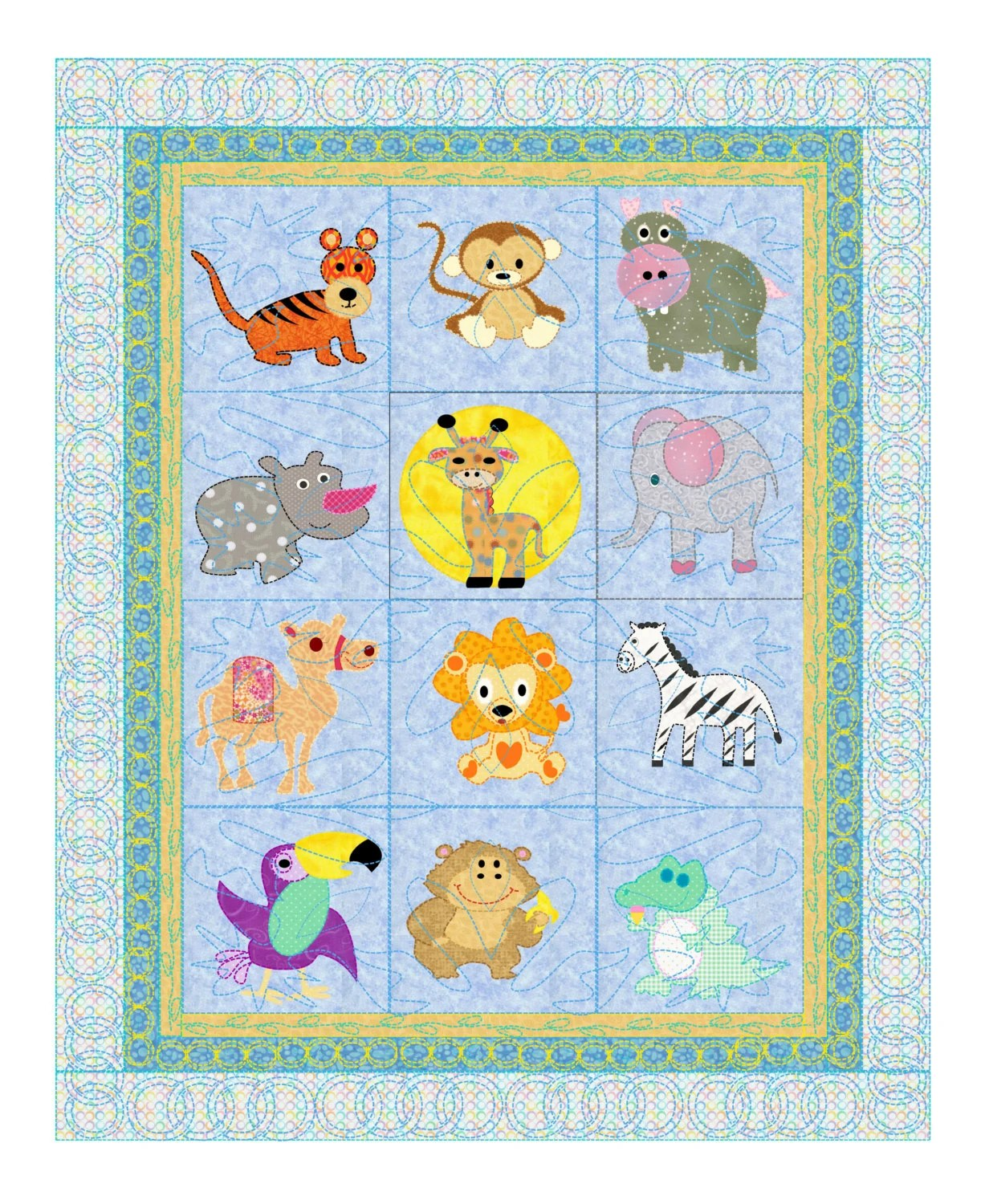 Baby Quilt Pattern Animals Safari Pets 12 Animals From The