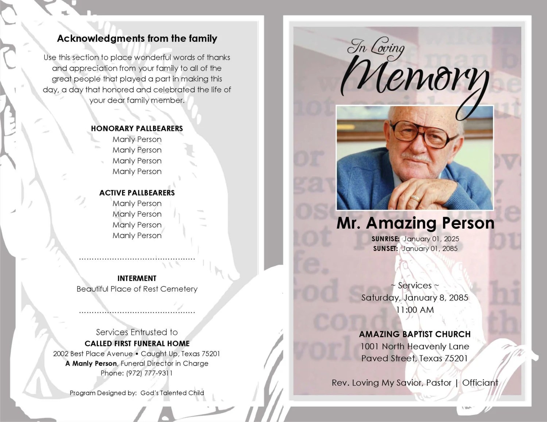 Downloadable Funeral Program Templates