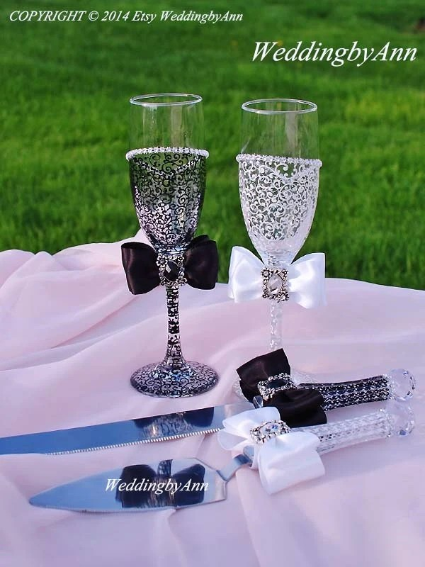 Wedding Glasses Wedding Cake Serving Set And Wedding