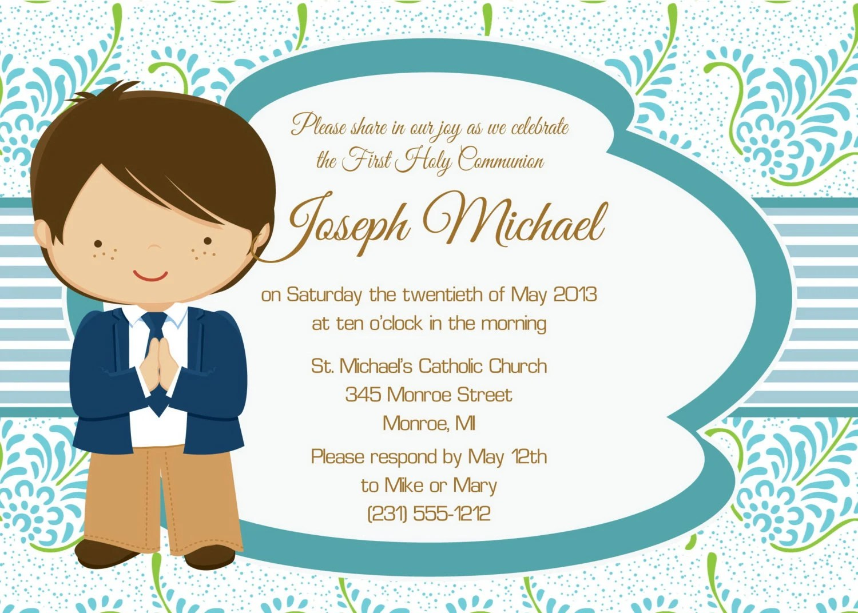 Boys Communion Invitation 1 Boys First Communion By Fabpartyprints