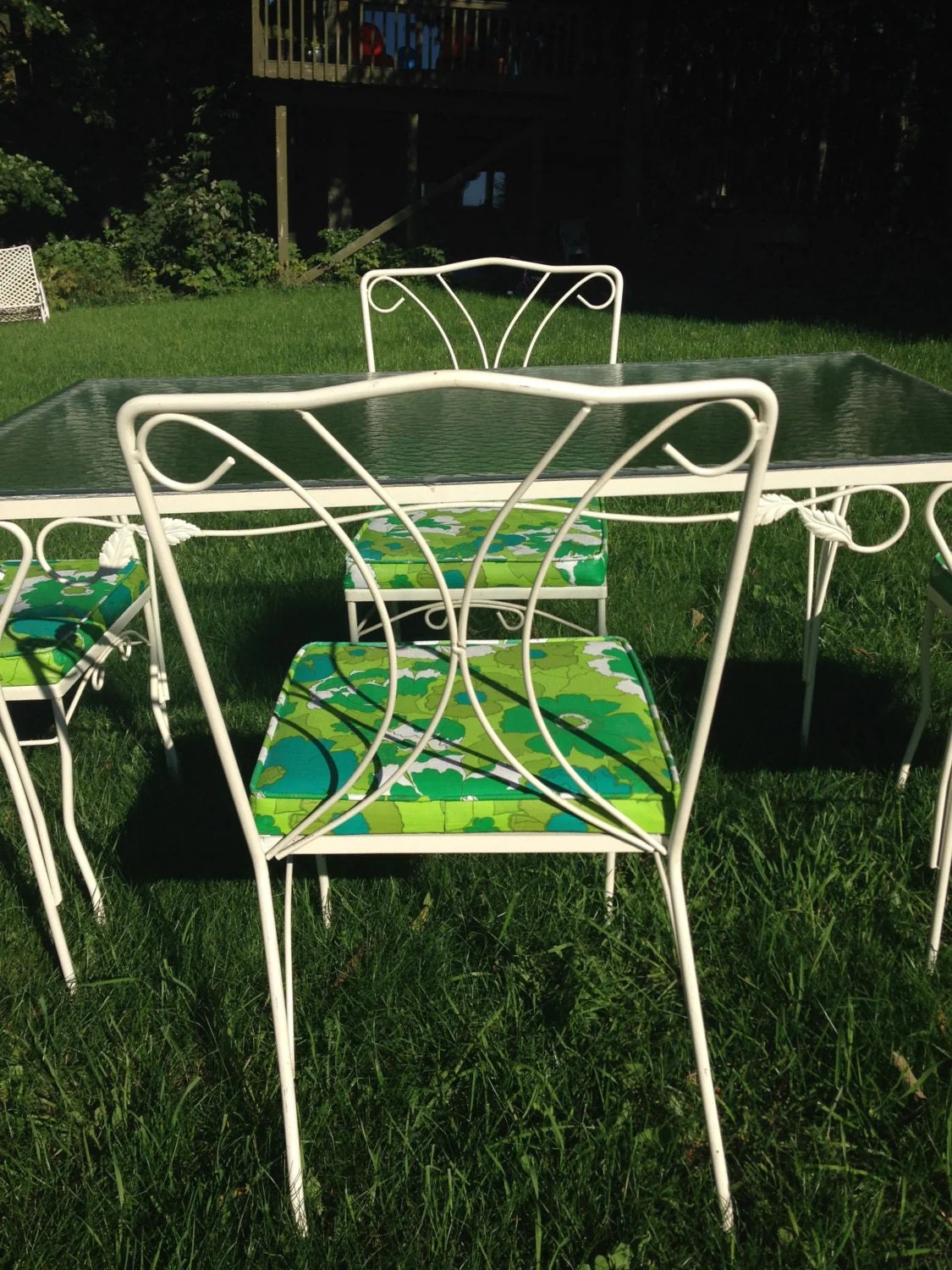 Vintage Outdoor Table Set Glass White Wrought Iron Table