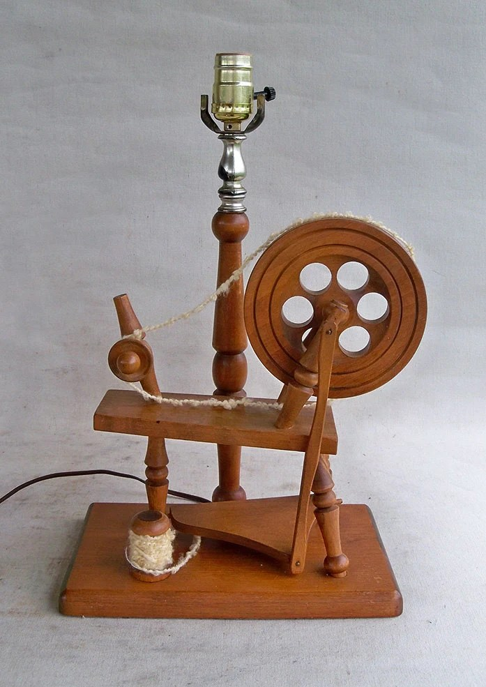 Vintage Wood Spinning Wheel Table Lamp With By Leapinglemming