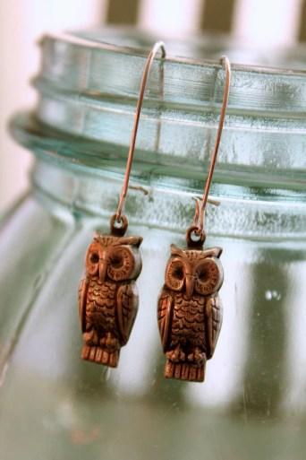 Owl Jewelry, Statement Jewelry, Owl Earrings, Flea Market Fancy, Bridesmaid Gift, Sorority Gift, Handmade Jewelry, Hipster Jewelry