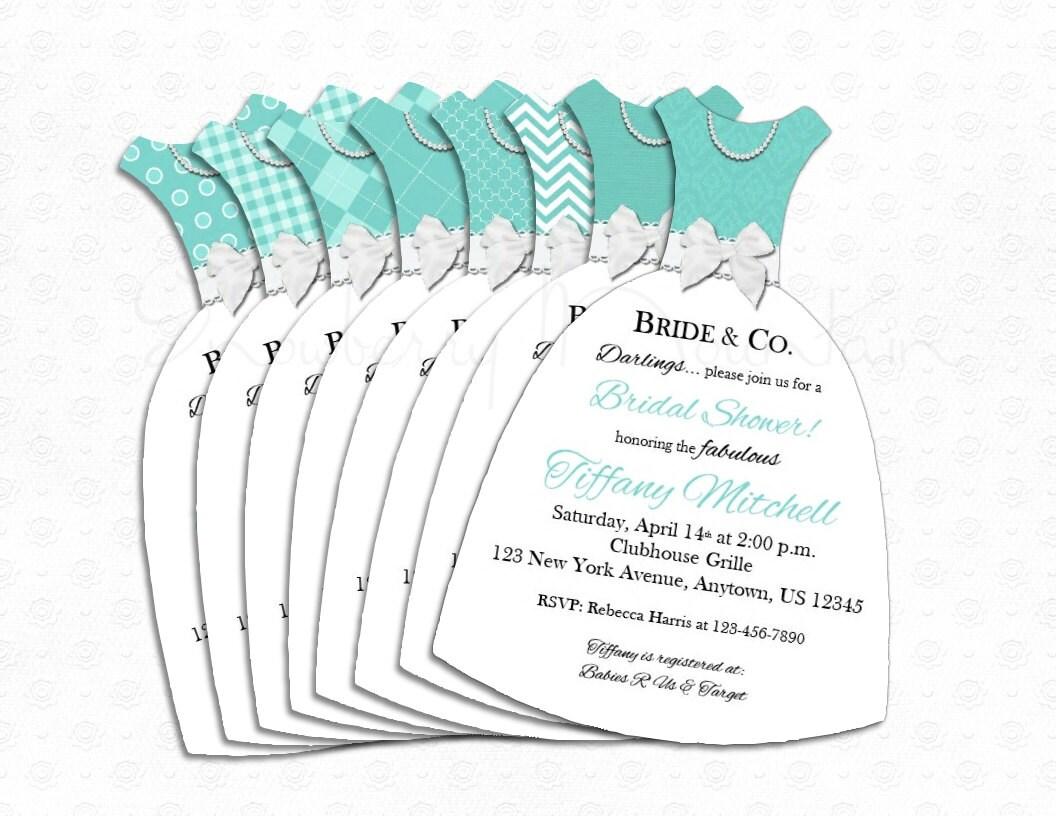 Bridal Shower Tiffany Amp Co Inspired Dress Invitations