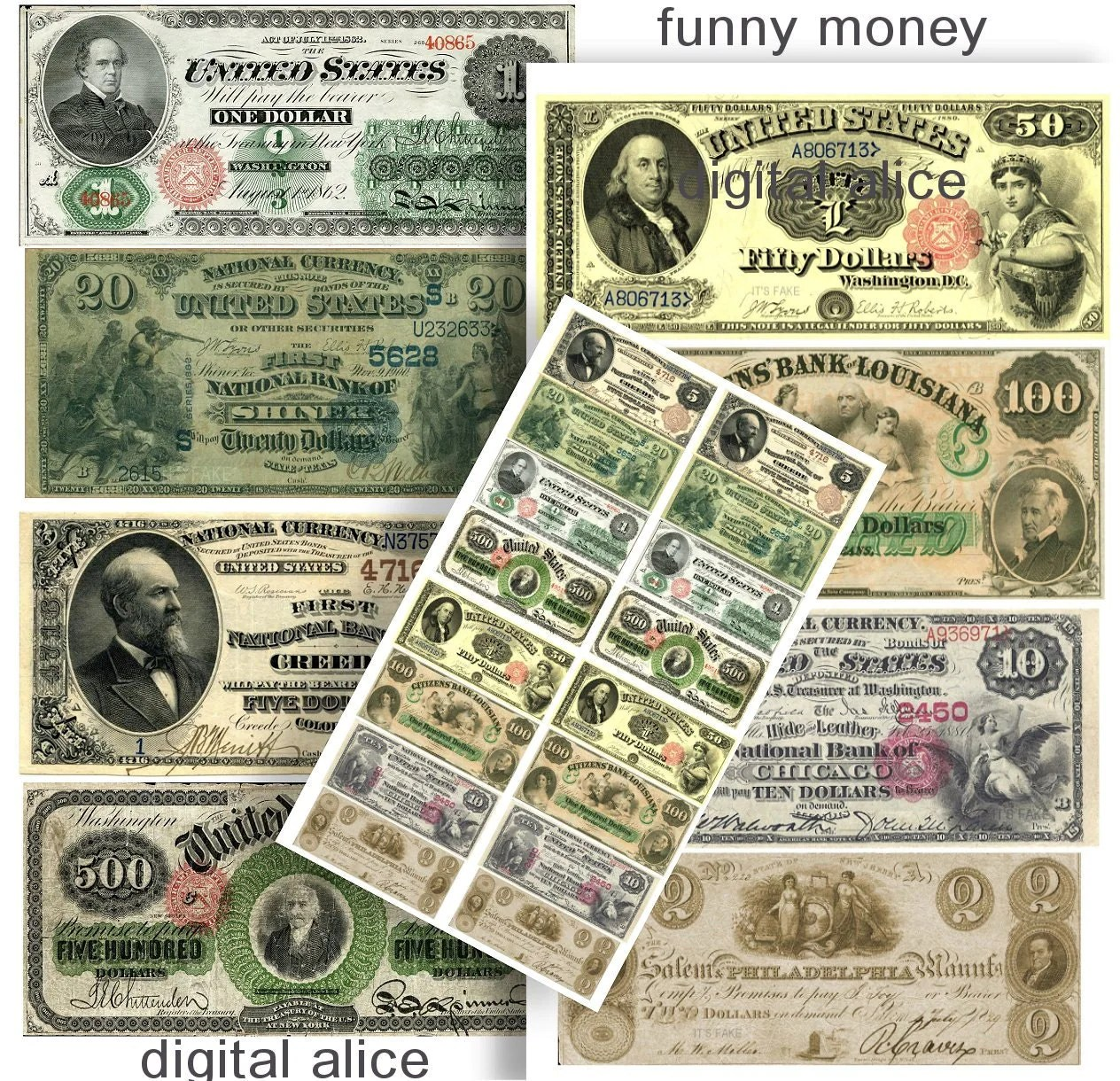 Fake Money Antique Currency Dollar Bills