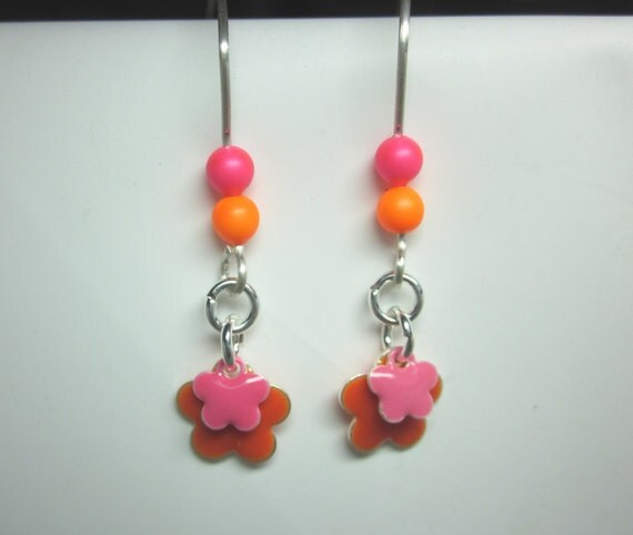 Pink And Orange Earrings