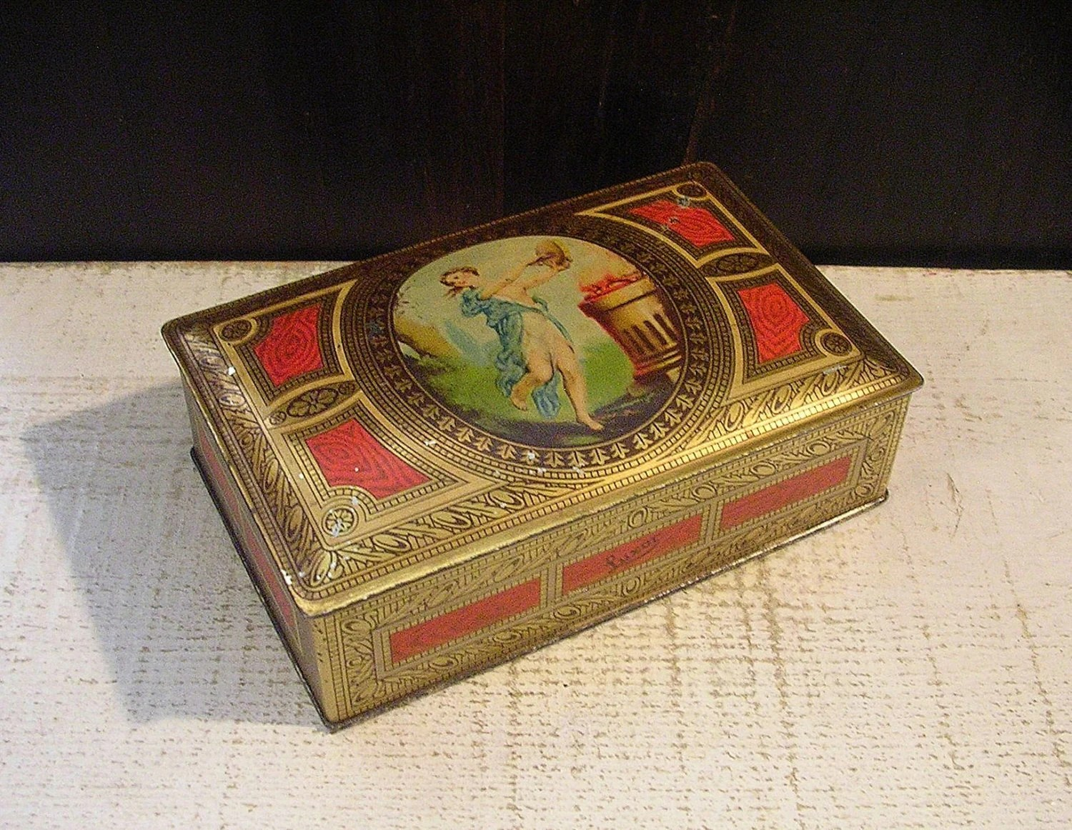 Small vintage art deco tin box red and gold with grecian girl beautiful haute juice - Small tin girl ...