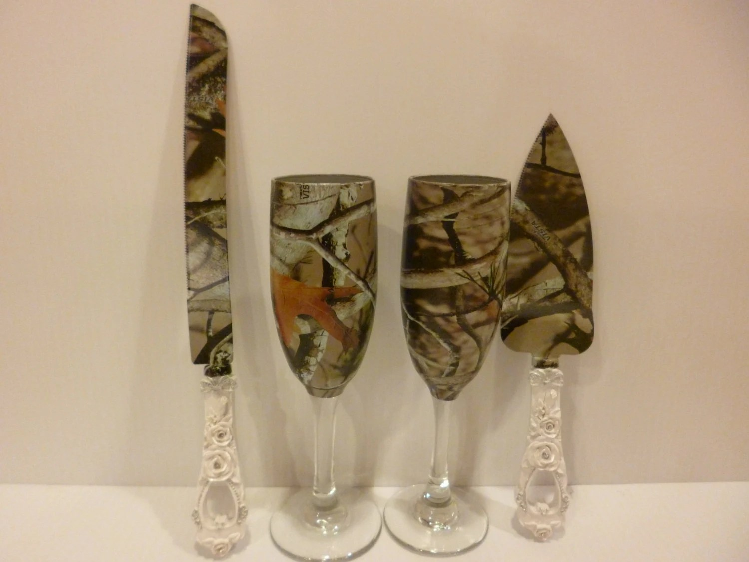 Rustic Wedding Personalized Camo Champagne Flutes By