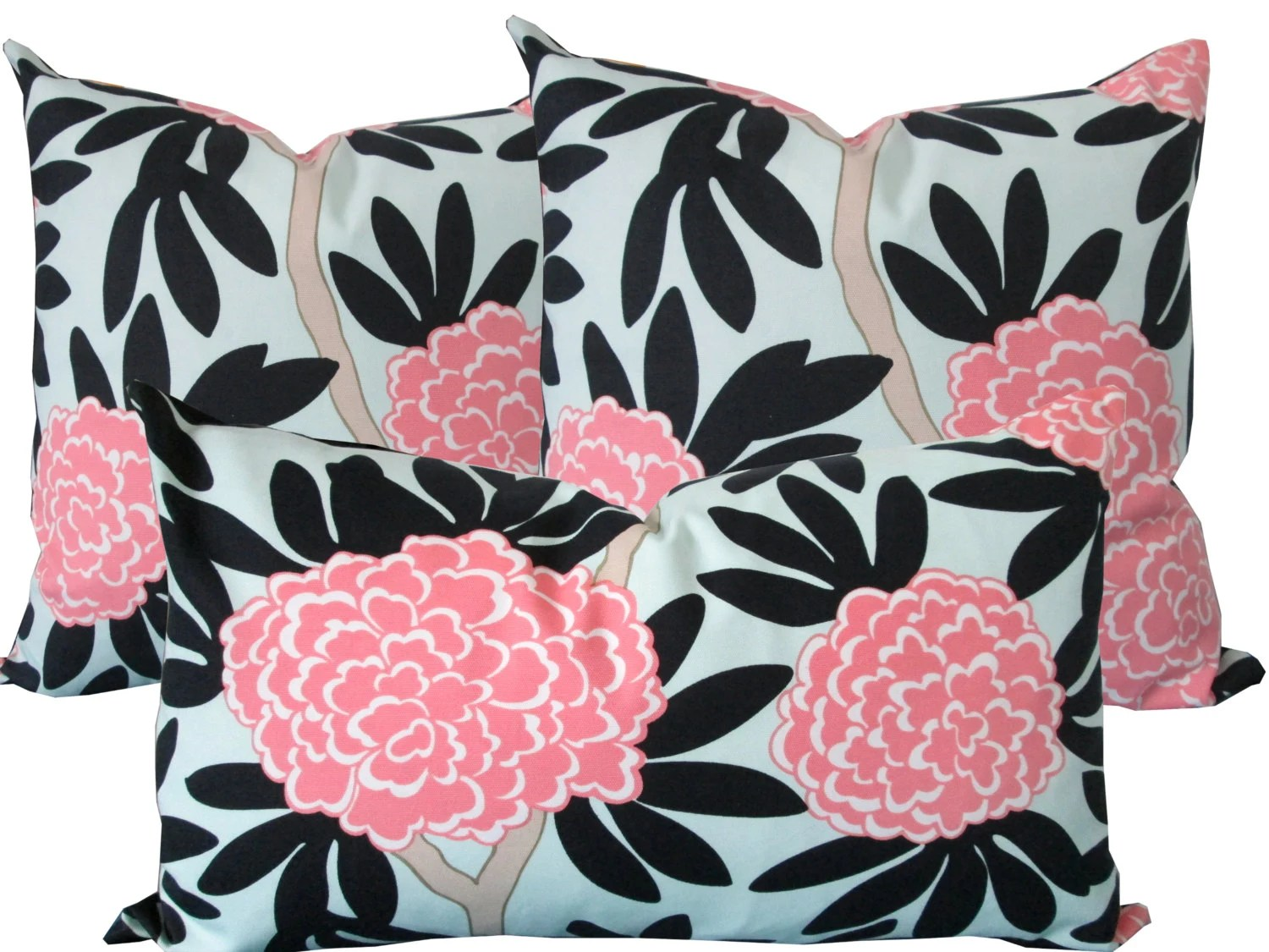 Pink And Navy Floral-Designer Decorative Pillow Cover-Asian