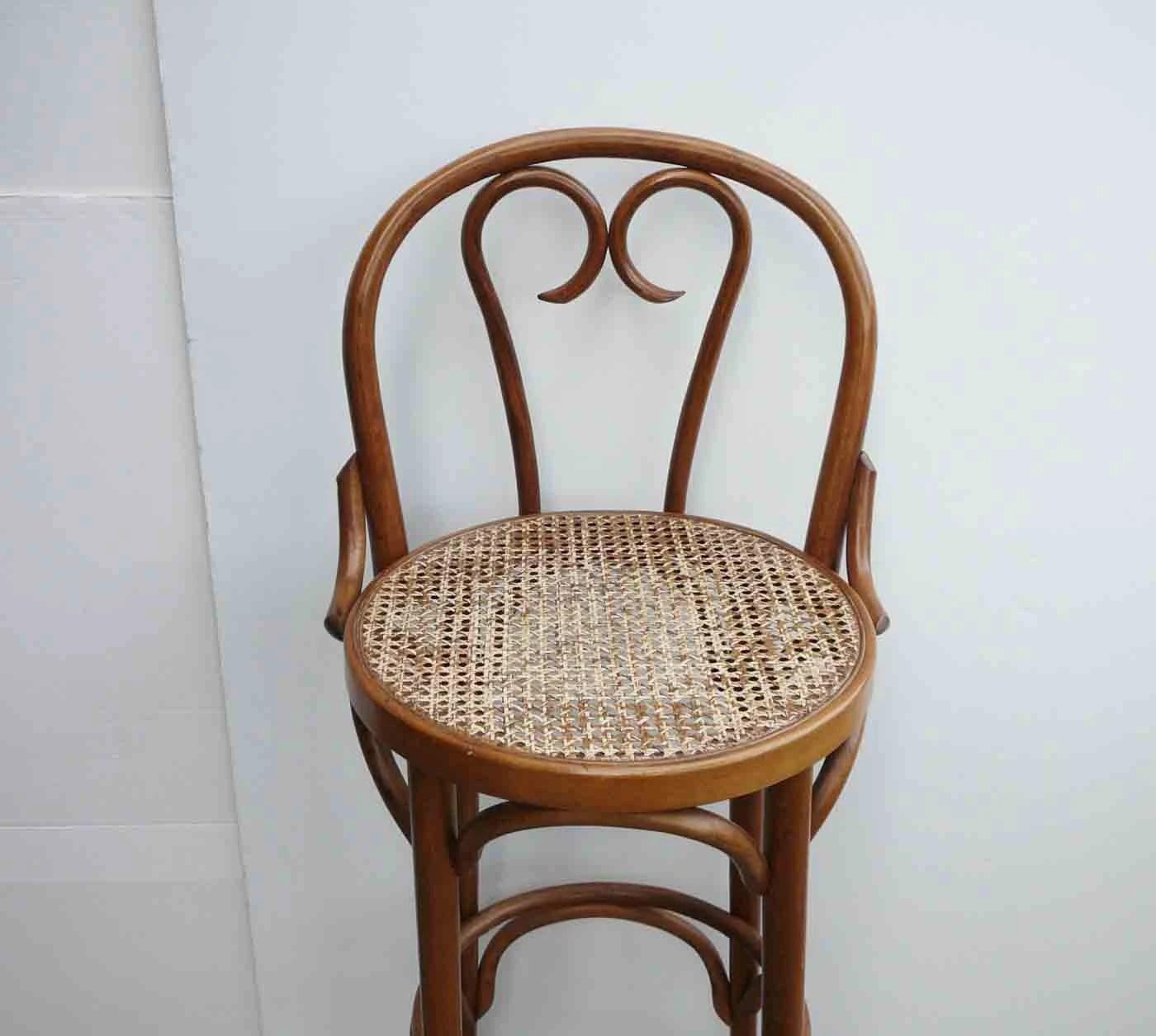 Vintage Rattan Stool Boho Chic Mid Century Chair Bohemian ...