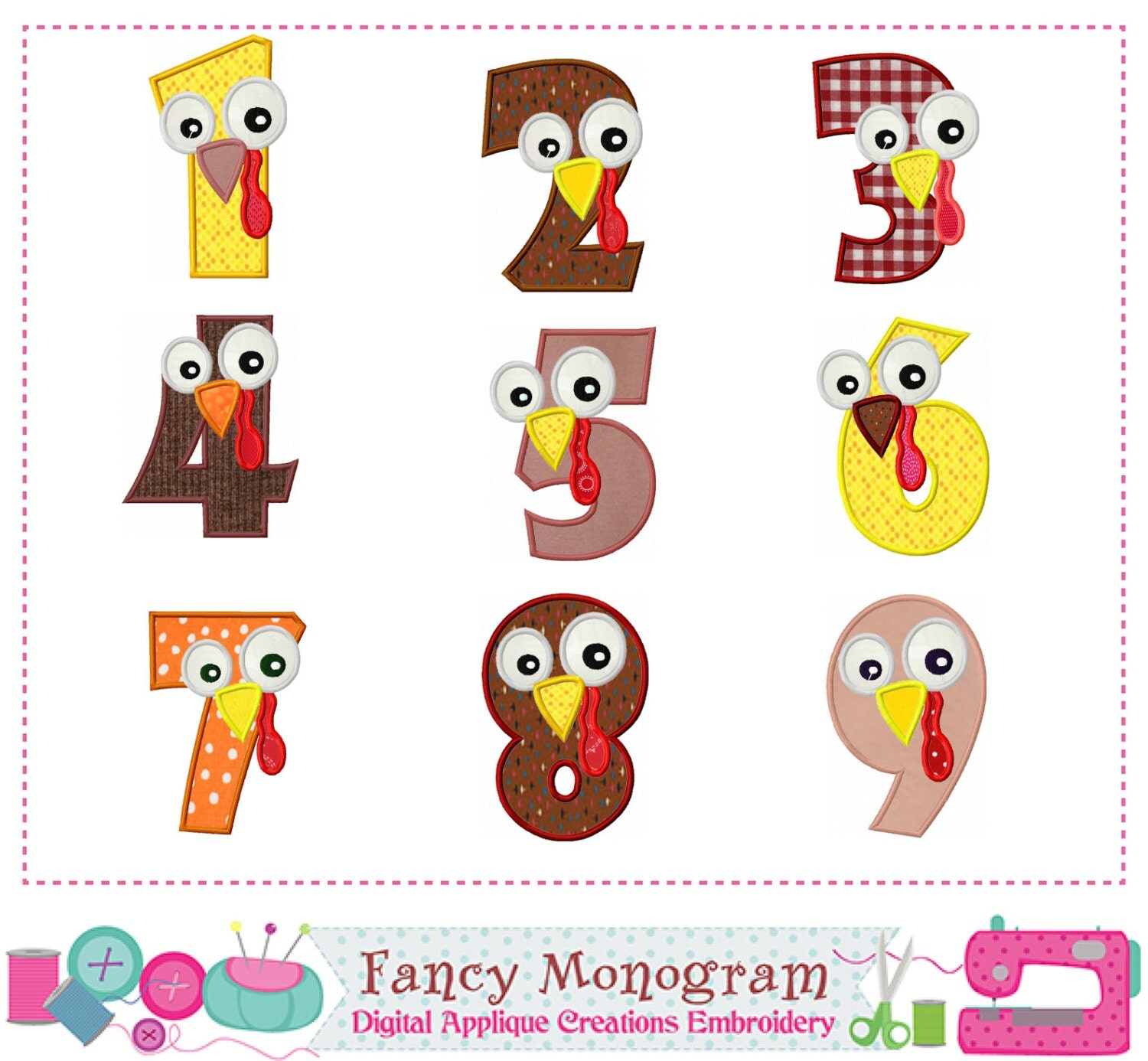 Turkey Numbers Appliquethanksgiving Numbers Appliquebirthday