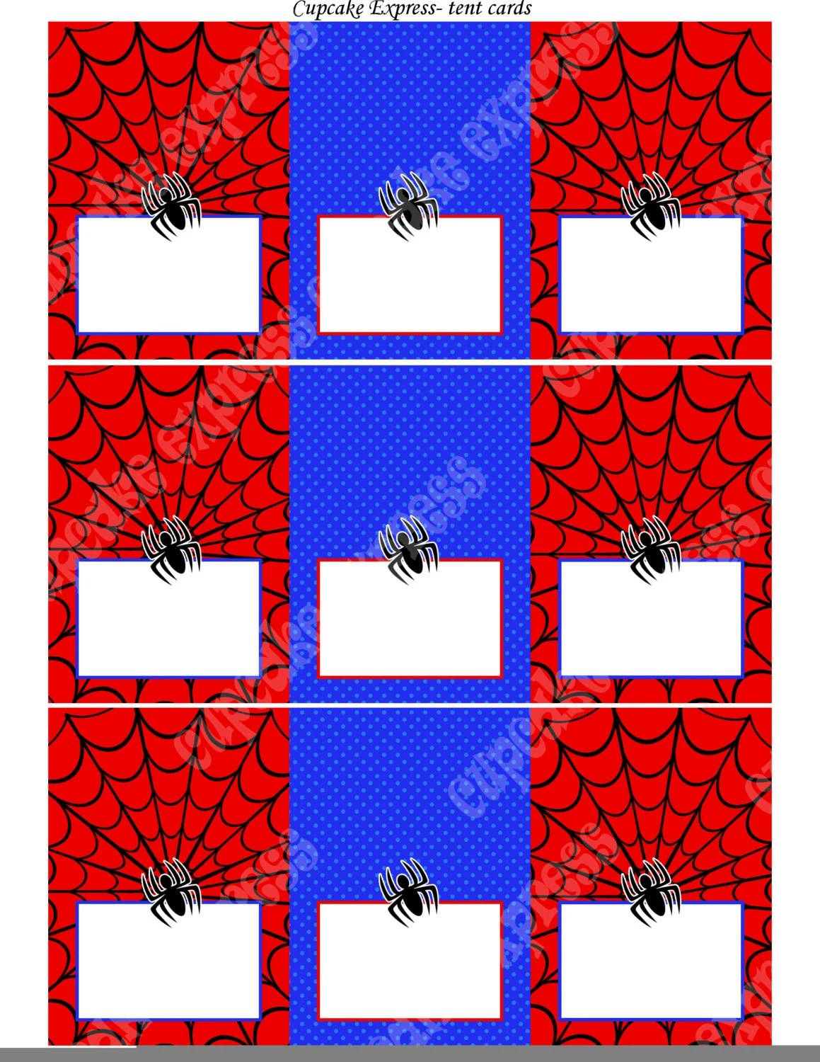 Spiderman Instant Printable Tent Cards Food Labels Birthday