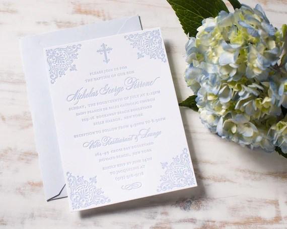 Baptism Invitations Letterpress