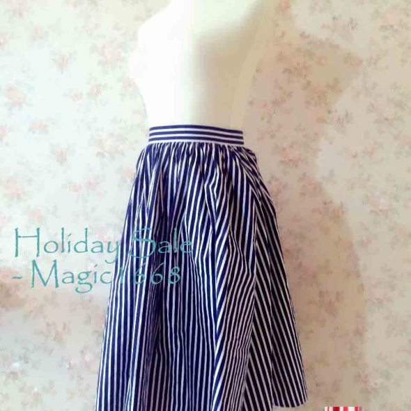 50f9726bc9 MS005 Sailing- Summer Skirt. Navy Stripe Circle Skirt. Plus size Skirt.  Cotton Midi Skirt with Pockets. Women Nautical Style Skirt