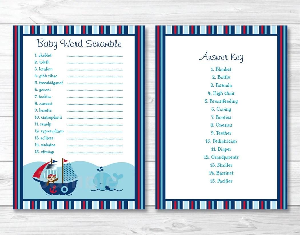Nautical Baby Shower Word Scramble Game Nautical Baby Shower