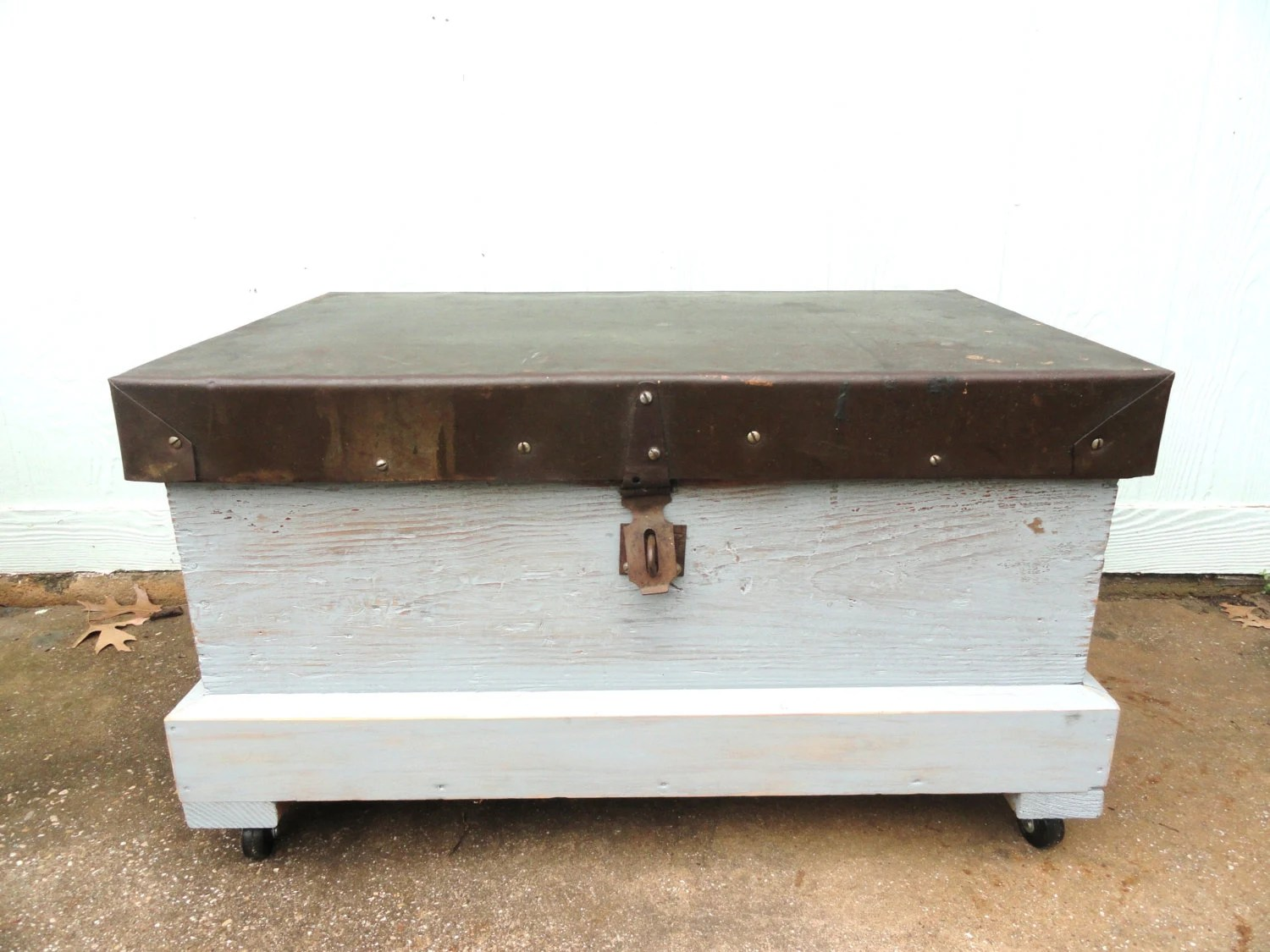 Repurposed Trunk Box Coffee Table Storage Organizer Rolling Wheels Worn Blue Paint Hinged Lid