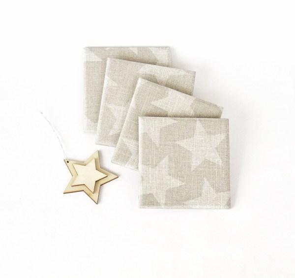 Ceramic Coasters Big White Stars on Grey Linen Winter Holiday