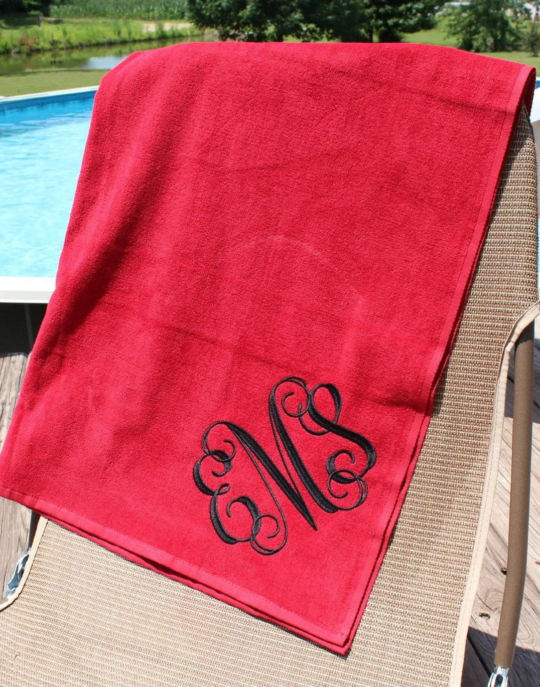 Monogrammed Beach Towels Red And White