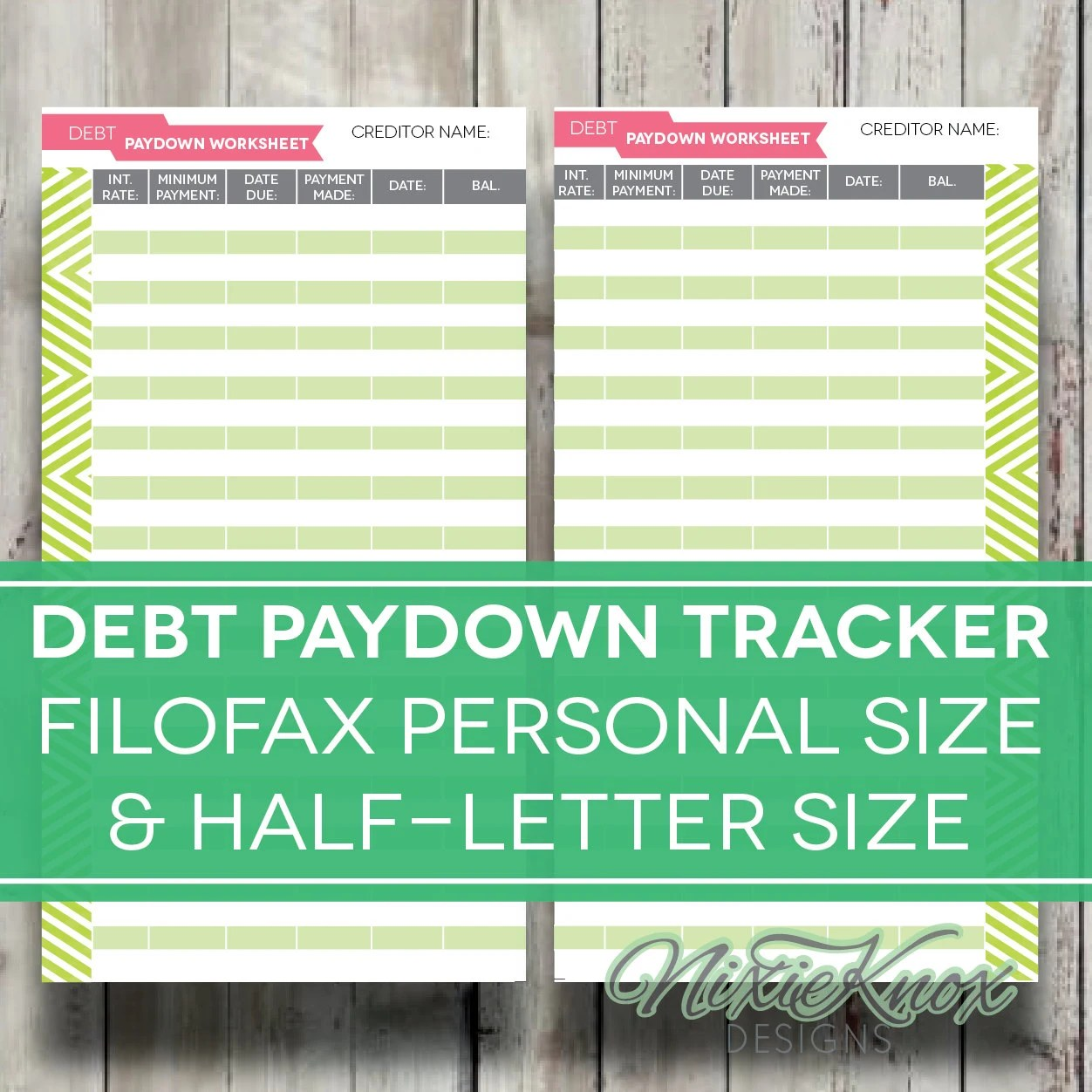 Debt Payoff Worksheet Printable Filofax By Perennialplanner