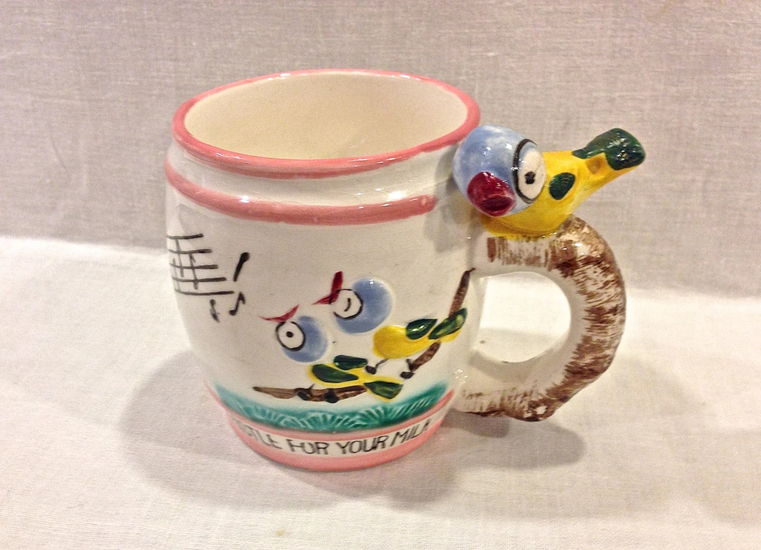 Vintage Whistle For Your Milk Childrens Cup Mug Bird