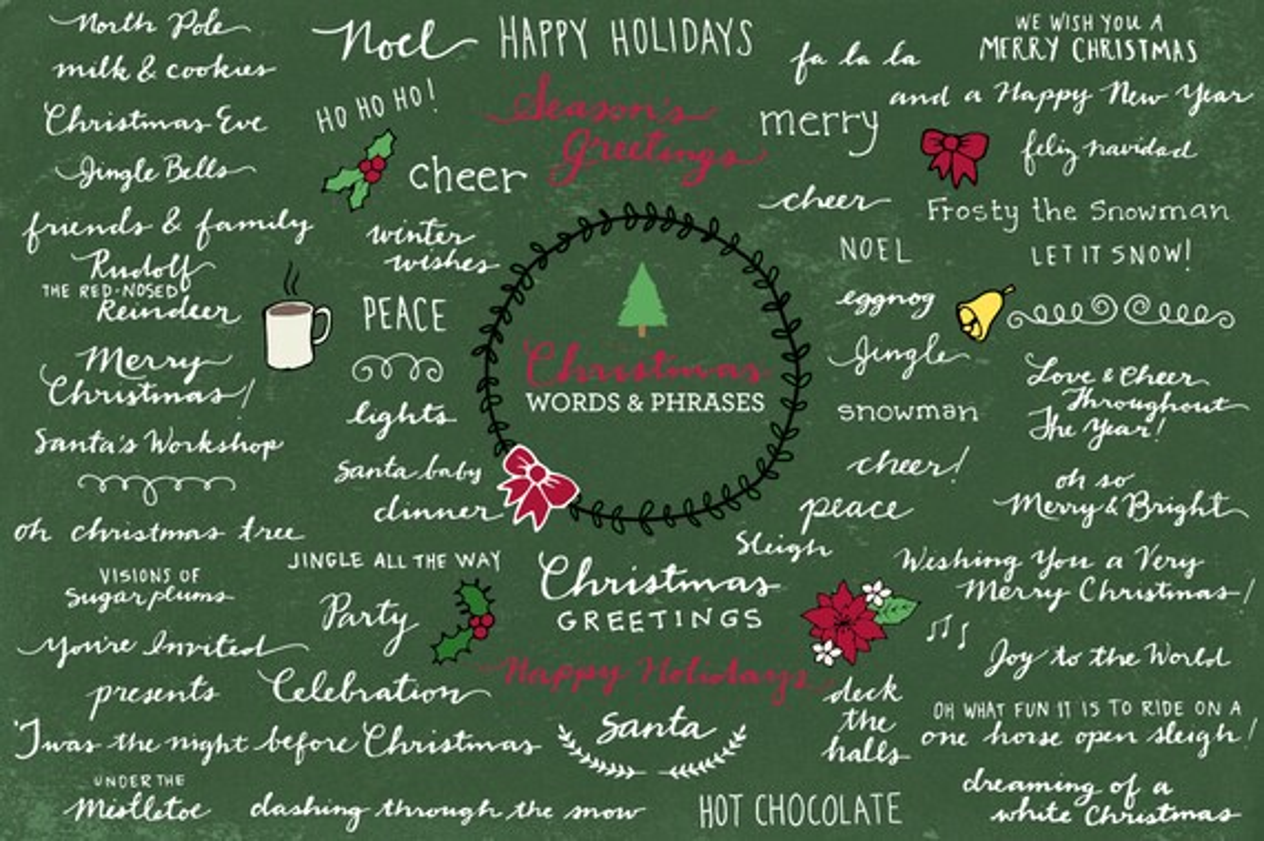 Christmas Typography Clipart Xmas Clipart Xmas Photo