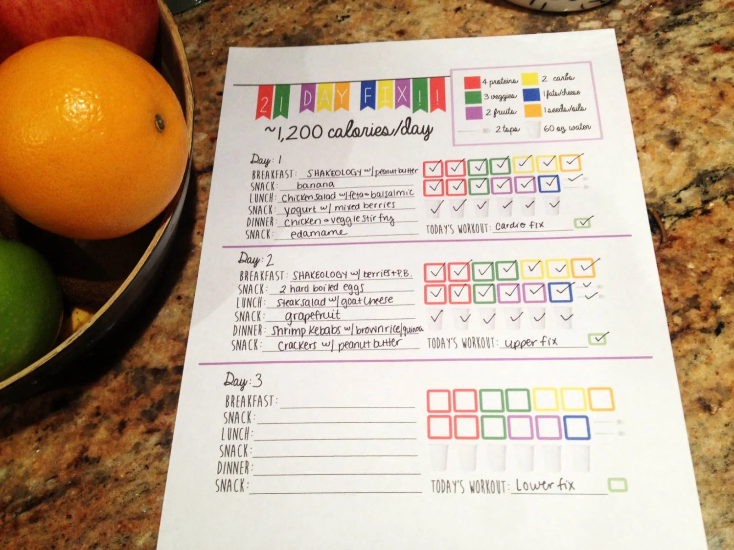 21 Day Fitness Logging System Tracking Sheet Beach Body